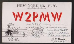 QSL Card New York To England 1946
