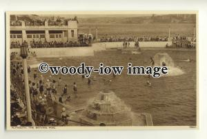 tp0788 - Devon - Early View of Bathing Pool & Fountains, at Plymouth - Postcard
