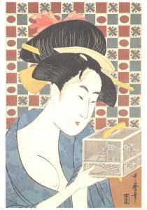 Postcard Utamaro The Insect Cage Ukiyoe