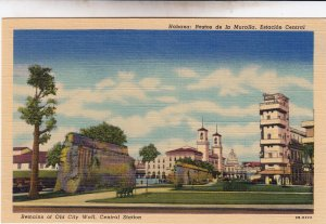 P1963 vintage postcard havana old city wall new city central station cuba unused