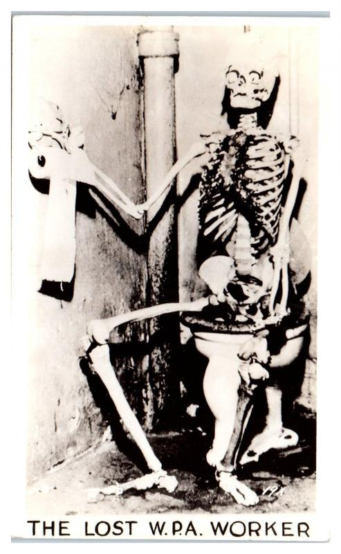 RPPC The Lost WPA Government Worker, Skelton on Toilet Postcard