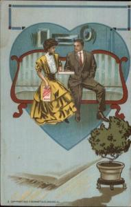 Art Deco Romance - Couple on Couch Bons Candies Chocolates c1910 Postcard