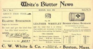 Boston Massachusetts~CW White & Co Blotter News~Makers of Trusses Etc~May 1912