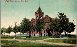 Carson City, Michigan Postcard HIGH SCHOOL Building View w/ 1910 MI Cancel
