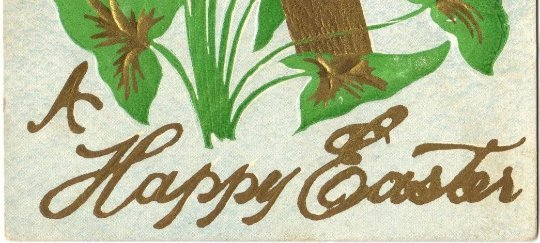 Gold Cross Peace Plant Easter Greeting Vintage Postcard