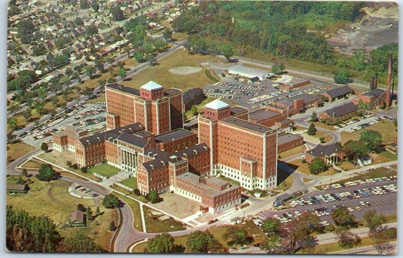 Dearborn, Michigan Postcard VA HOSPITAL Air View Southfield & Outer Drive c1950s
