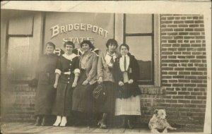 Bridgeport - WV Written on Back State Bank Women & Dog Real Photo Postcard