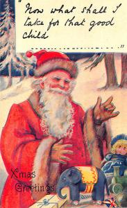 Christmas Orange Suited Santa Claus Toys UK Postcard