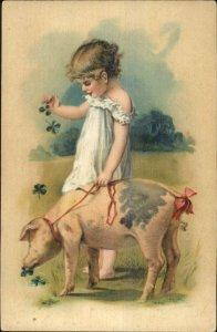 PFB Little Girl Clovers & Pig on Leash c1910 Postcard