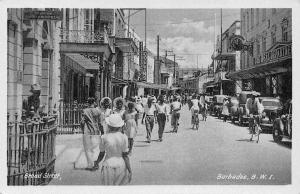 Barbados Broad Street Promenade Cyclists Vintage Cars Voitures postcard
