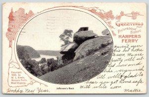 Harpers Ferry West Virginia~Jefferson's Rock Vingnette~Art Nouveau~1905 WL Erwin