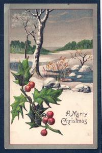'Merry Christmas' Holly Rural Snow View Used c1908