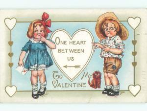Pre-Linen valentine DOG BY GIRL WITH CARD & BOY PICKING FLOWER PETALS J0793