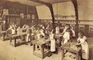 Nostalgia Postcard Boarding School Carpentry Class Reproduction Card NS29