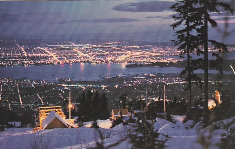Night view from Grouse Mountain,  Vancouver,  B.C.,  Canada,   40-60s