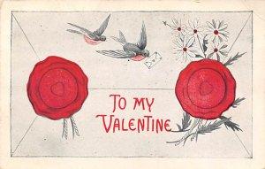 Valentines Day Unused crease right top corner