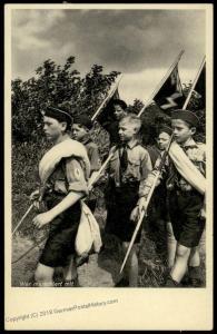 3rd Reich Germany Hitler Youth HJ Marching Propaganda Card 84755