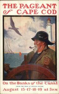 Poster Art Pageant of Cape Cod MA Gerrit Beneker Fisherman Lighthouse Postcard