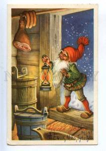 206832 NEW YEAR Hungry GNOME Dwarf w/ Lantern Old postcard
