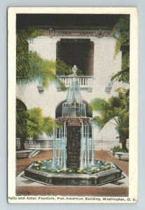 Patio Aztec Fountain Pan American Building Washington D.C. Postcard