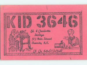 comic - QSL HAM RADIO CARD Oneonta New York NY t0854