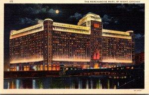 Illinois Chicago The Merchandise Mart By Night Curteich