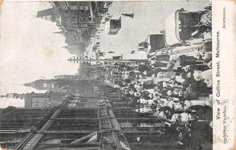 Melbourne Australia trolley trains people on Collins Street antique pc Z41526