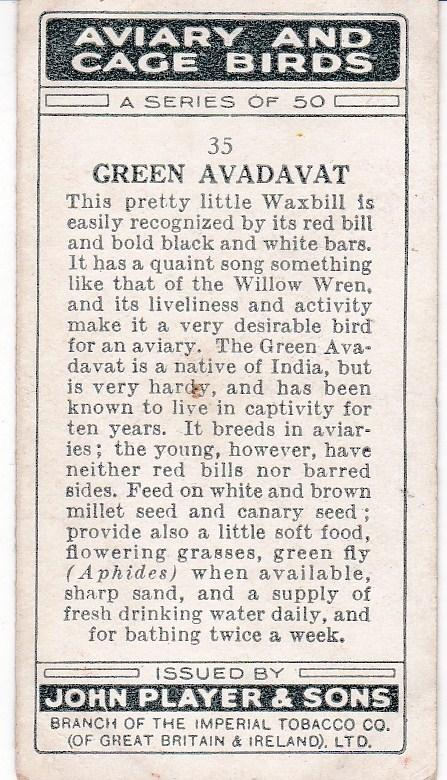 Cigarette Cards Playe Aviary and Cage Birds No 35 Green Avadavat