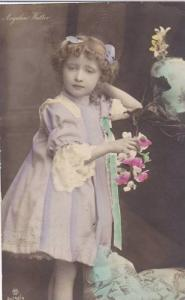 RP Hand Tinted, Girl (Angelica Walter) Wearing A Purple Dress & Holding Pink ...