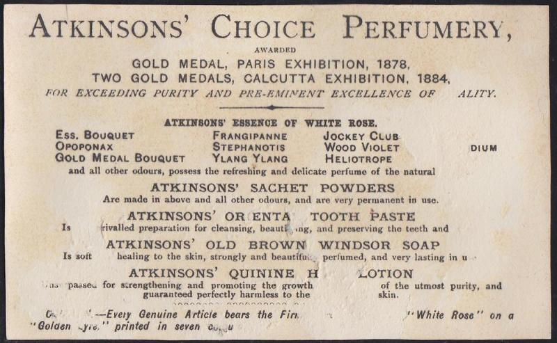 Atkinson's Perfumery London Victorian Card