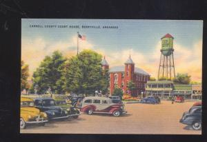 BERRYVILLE ARKANSAS DOWNTOWN STREET SCENE OLD CARS WATER TOWER OLD POSTCARD