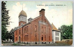 Marengo IL Great Chimney, Mansard Roof Tower & Cupola~High School & Annex c1910