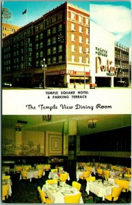 Salt Lake City, Utah Postcard TEMPLE SQUARE HOTEL Street View w/ Dining Room