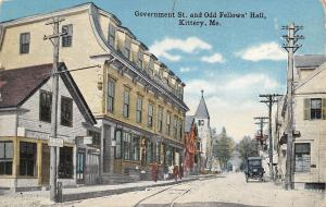 Kittery Maine~Government Street~Odd Fellows Hall~Go Slow~Folks on Sidewalk~1911