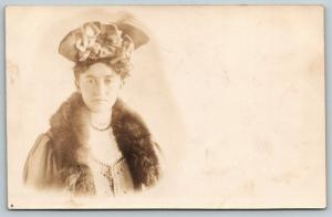 West Branch IA~Lulu w/Fancy Hat~Fur Shawl~Use This Pic~No Mice Worries~RPPC 1907