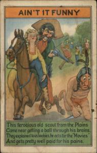 Cowboy Indian Woman Damsel in Distress Movie Scene Poem AIN'T IT FUNNY pc