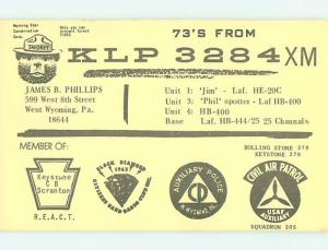 comic - QSL CB HAM RADIO CARD West Wyoming Pennsylvania PA t9655