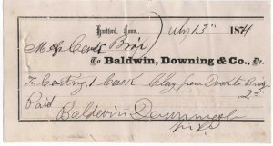 1874 Freight Receipt, BALDWIN, DOWNING & CO., Dr., Hartford, Connecticut