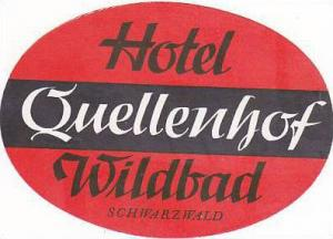 GERMANY WILDBAD HOTEL QUELLENHOF VINTAGE LUGGAGE LABEL