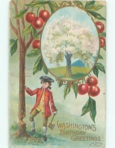 Pre-Linen Patriotic GEORGE WASHINGTON CHOPPING DOWN CHERRY TREE AC0834