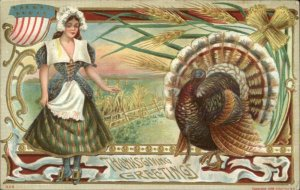Thanksgiving - Pretty Pilgrim Woman Turkey P. Sander #325 c1910 Postcard