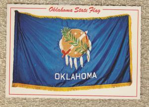 OKLAHOMA STATE FLAG Post Card Patriotic Americana Peace Pipe Feathers