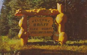 Entrance Sign Banff National Park Canada