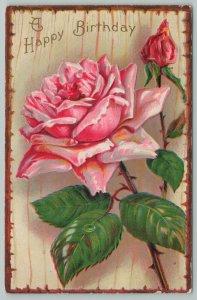 Flowers Greetings~Beautiful Pink Rose~Wood Border~c1910 Embossed Postcard