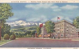 Colorado Springs Acacia Hotel Showing Platte Avenue With Pike's Peak In Distance