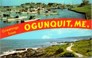 Ogunquit ME Maine - MULTI VIEW WATER BEACH PIER BOATS VINTAGE POSTED POSTCARD
