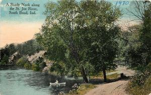 South Bend Indiana~Man in Rowboat~Shady Nook Along St Joe River~c1910 PC