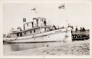 'Armenon' Boat Winnipegosis MB Manitoba Real Photo Postcard E67