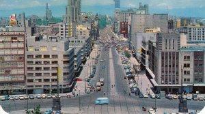 P1941  vintage postcard birds eye view juarez ave mexico city traffic etc unused
