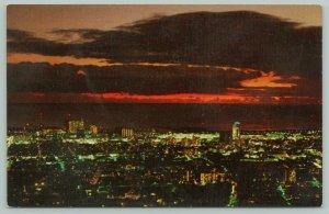 Honolulu Hawaii~Downtown Birdseye @ Sunset~c1951 Postcard